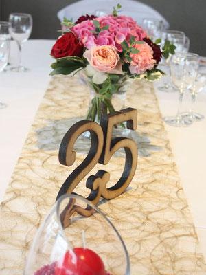 Numéro de table en bois