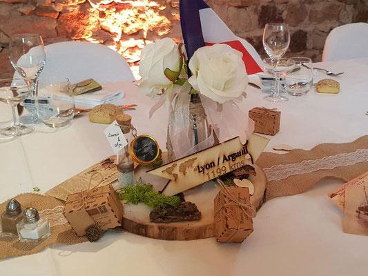 Nom de table en bois; thématique voyage