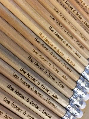 Cadeau enfant, stylos gravés au laser