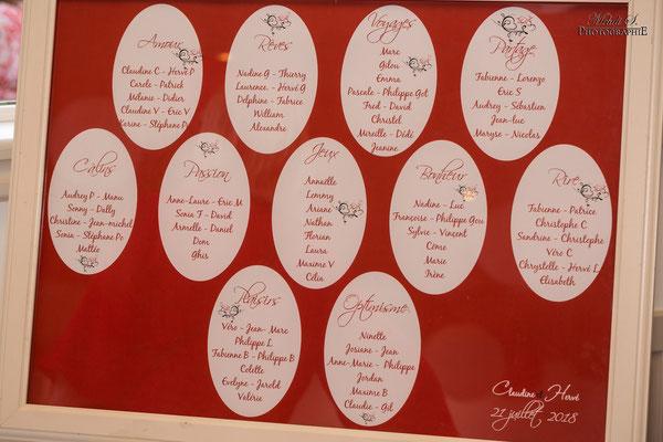 PLan de table rouge; thématique amour