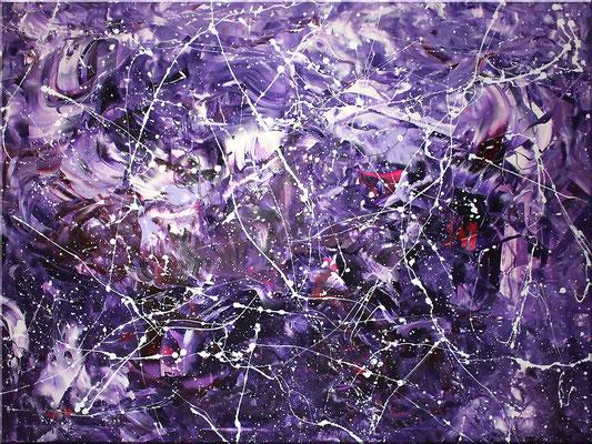 Wandbild XXL 120 x 90 cm in Violett, Magenta, Schwarz und Weiß