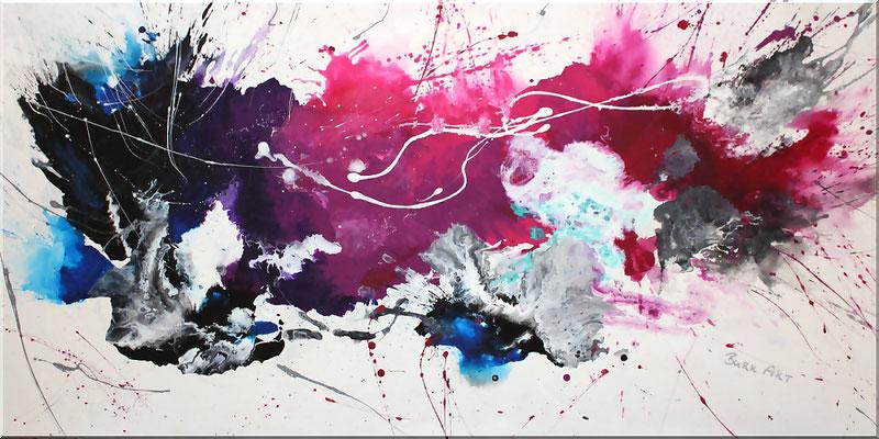 Acrylbilder kaufen-abstraktes Acrylbild in Purple, Blau, Mintgrün, Schwarz, Grau, Weiss