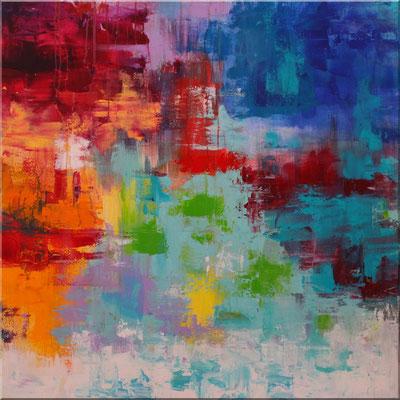 Acrylbilder kaufen-Abstraktes Wandbild 80 x 80 cm, Blau, Tükis, Grün, Orange, Gelb, Rot und Lavendel