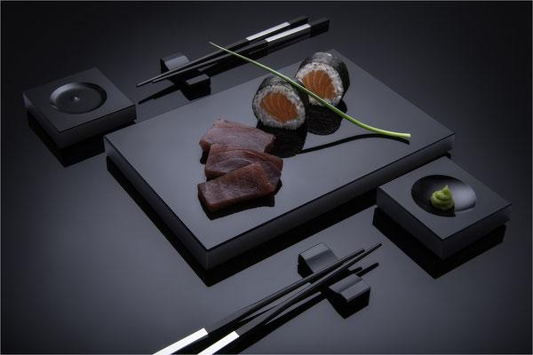 Sushi-Set aus Schwarzglas von Black-Glass