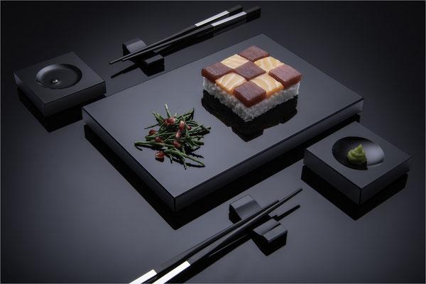Sush-Set aus Schwarzglas von Black-Glass