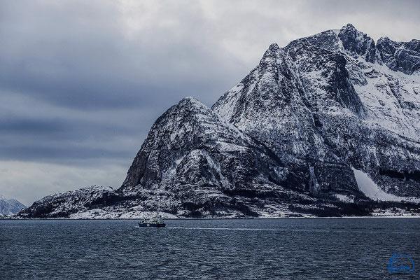 Die Küstenlandschaften mit Puderschnee und in der blauen Stunde.