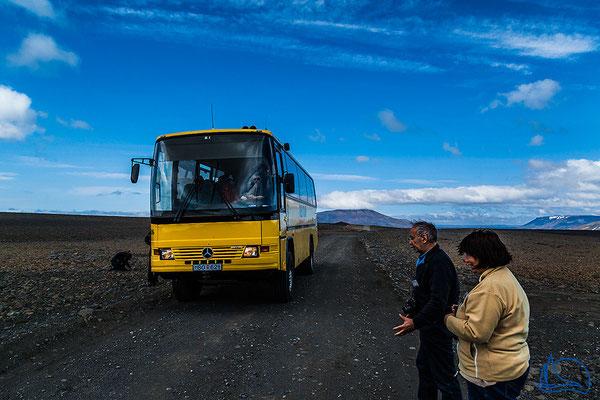 Befahren mit einem Hochlandbus.