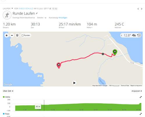 Die GPS-Aufzeichnung unserer Route zu den Vogelfelsen.