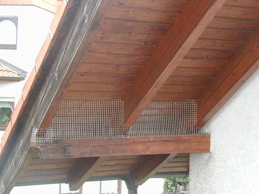 Tauben-Vergrämung: Gitter-Netz am Privathaus