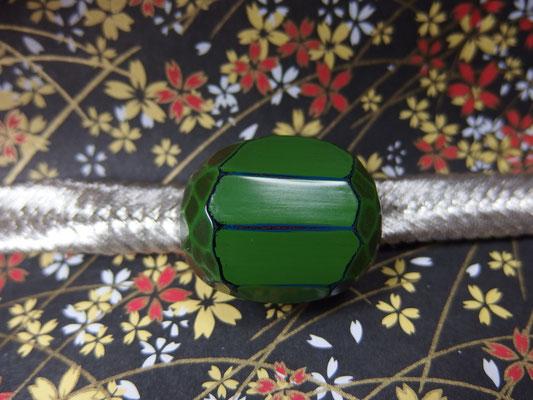 鎌倉彫帯留 刀痕/丸/緑2