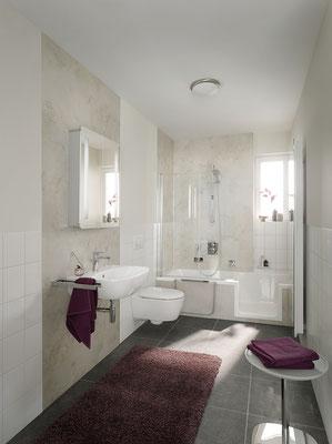 Duschwanne Dobla, Wandverkleidungssystem Renodeco, Foto © HSK