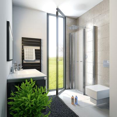 Fensterlösung, Duschkabine exklusiv mit Drehfalttür, Foto © HSK