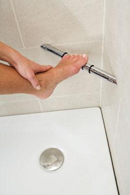 HSK Ganzmetall-Fußstütze für die Dusche, Foto © HSK