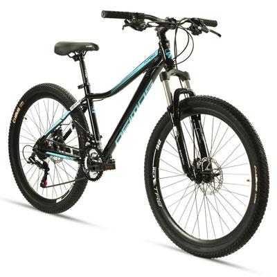 --+Bicicleta DEIMOS Turbo MTB R26, ALUMINIO, 21VEL SHIMANO TOURNEY DDM Negra/aqua Dama Talla S/M $9,300 MXN