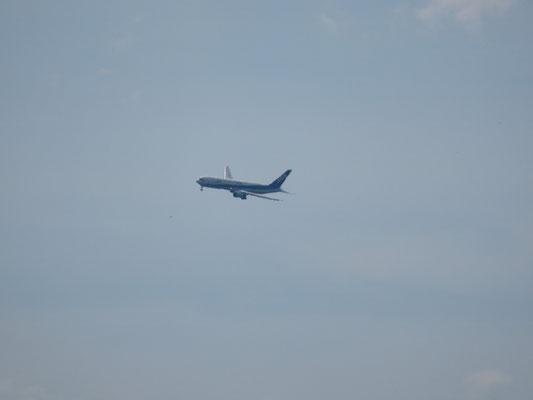 宮崎空港へ旋回しながらANAが入って来ます。