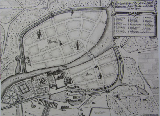 "Johann Gregor Memhardt: ""Grundriss der Beyden Churf. Residentz Stätte Berlin und Cölln an der Spree"" 1652  -@Stiftung Stadtmuseum Topographische Sammlung"
