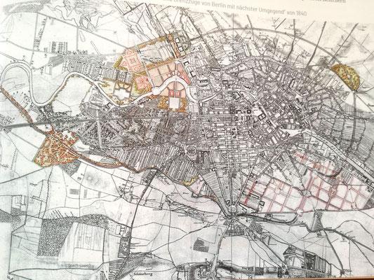 Blick ins Buch - Lenné Plan von 1840 - Projektierte Schmuck - und Grenzzüge