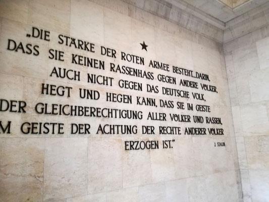 Zitat Stalins - Sowjetisches Ehrenmal Schönholzer Heide