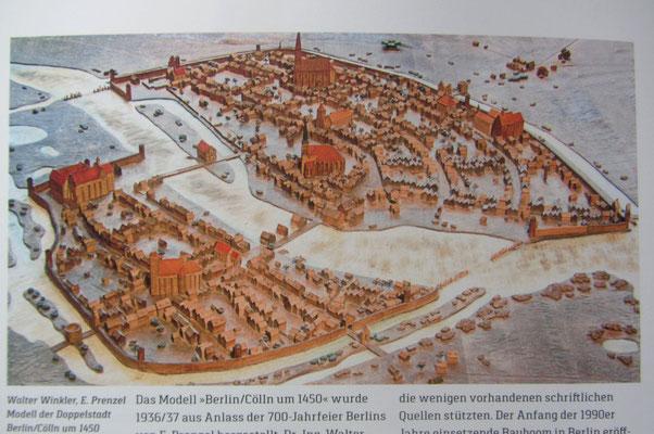 Walter Winkler, E.Prenzel: Modell der Doppelstadt Berlin/Cölln um 1450 - @Stiftung Stadtmuseum Topographische Sammlung