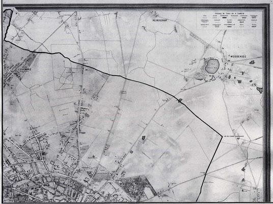 Alter Plan der Lage Weißensee von 1866  unknown, scanned by APPER - @ Public domain, via Wikimedia Commons