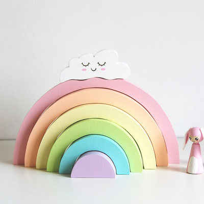 Puzzle en bois arc en ciel pastel