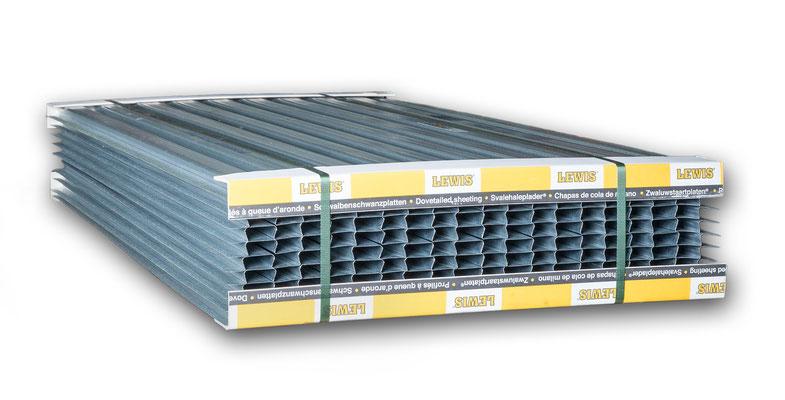 Ein Bund LEWIS®-Schwalbenschwanzplatten enthält 10 Platten.