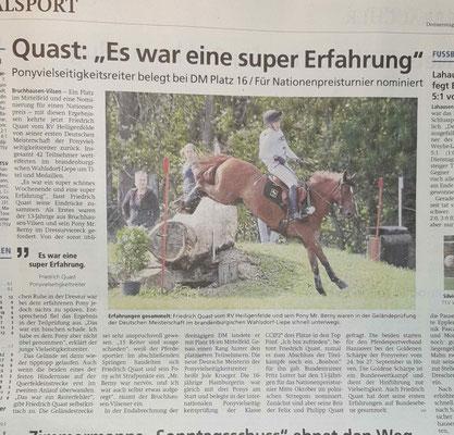Friedrich Quast - Kreiszeitung vom 24.09.2020