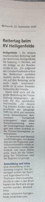 Reitertag - Kreiszeitung vom 23.09.2020