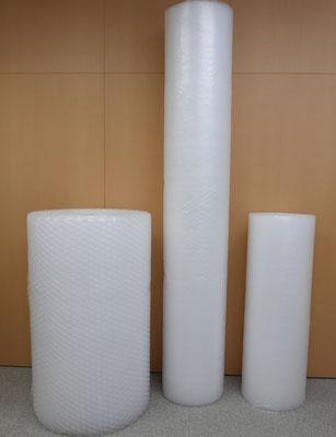 左右は、原反幅1200mm。中央は広幅の原反幅2400mmの製品です。ちなみに左は大粒のZM-200のため、原反の直径が太くなっています。