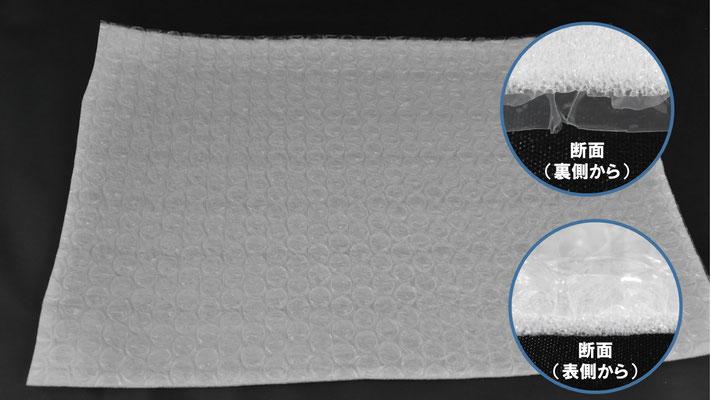 不織布ラミ製品の全体と、断面を拡大しました。