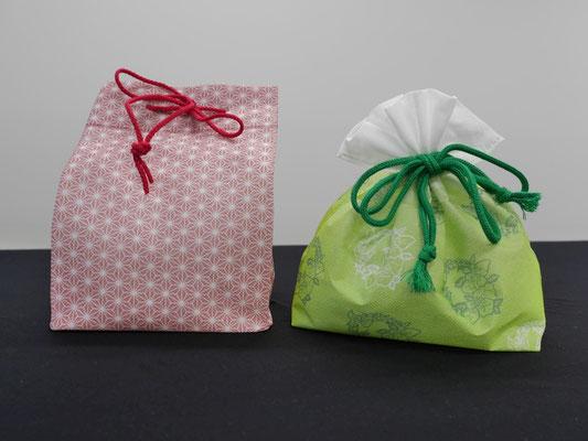 和菓子などを入れる不織布加工品。緩衝性能と美観性を高めます。