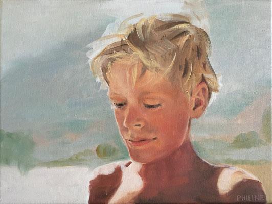 Portret Philine van der Vegte, olieverf op doek 30x40cm