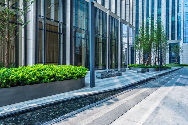 Firmengarten Eingangsbereiche Pflanztröge Rhododendron Azaleen