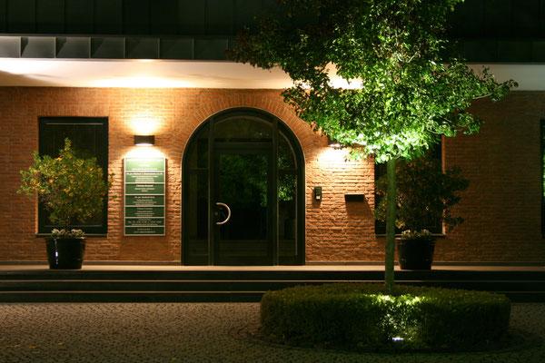 Eingangsbereich mit BetonstufenAnlage und Natursteinpflaster