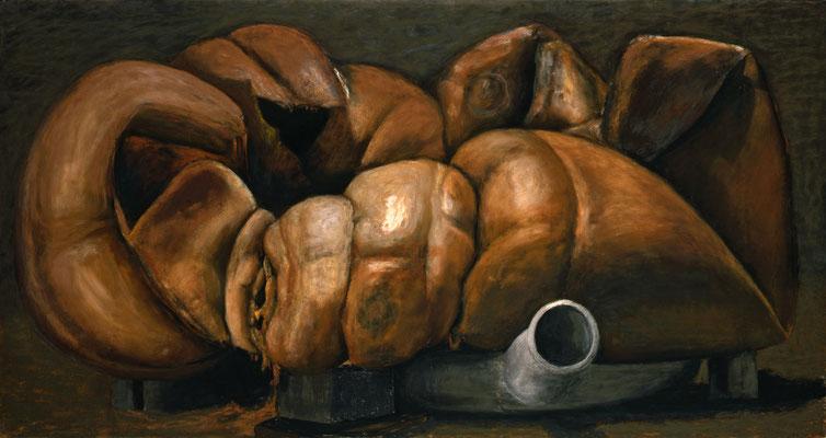 2001. 112 x 212 cm. Pastel sur toile marouflé sur toile.