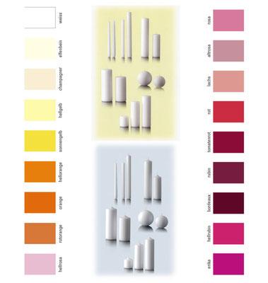 Farbkarte Stumpen- und Spitzkerzen