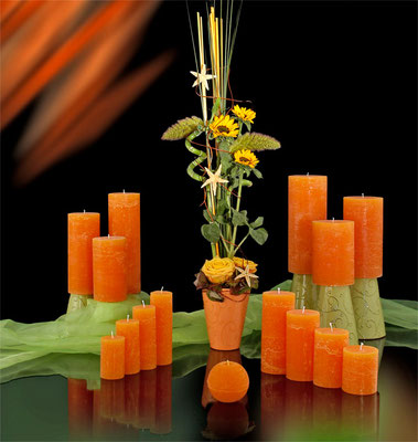 Raureifkerzen orange durchgefärbt