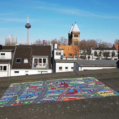 Belgisches Viertel von oben - Spielteppich Köln - deinspielteppich.de