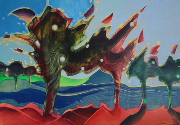 Sans titre, 1996, huile sur carton, fond métallisé, 98 x 68 cm