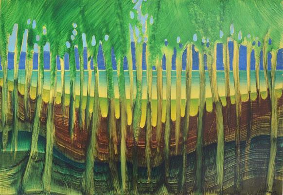Sans titre, 1989, huile sur carton, fond métallisé, 98 x 68 cm