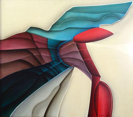 111 x 98 cm, huile sur panneau, 1982, Ikarus