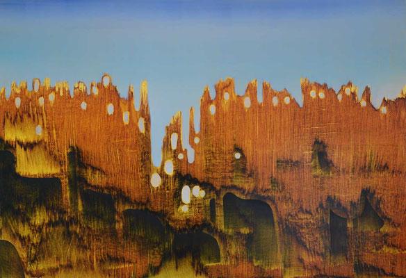 Sans titre, 1992, huile sur carton, fond métallisé, 98 x 68 cm