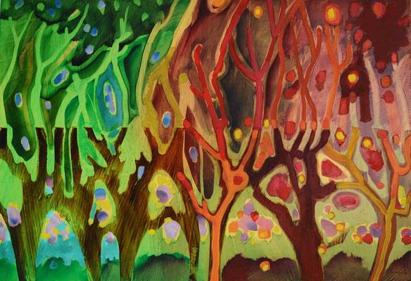 Sans titre, 1994, huile sur carton, fond métallisé, 98 x 68 cm