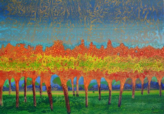 Sans titre, 2000, huile sur carton, fond métallisé, 98 x 68 cm