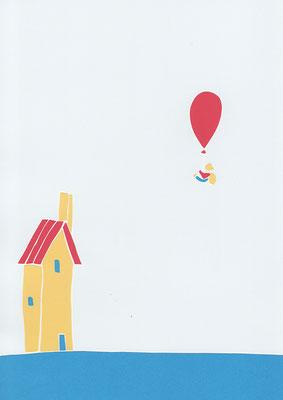 広島のイラストレーター、絵本作家であるミヤタタカシ切り絵イラスト「煙突のある家」