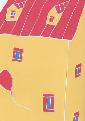 広島のイラストレーター、絵本作家であるミヤタタカシ切り絵イラスト「ふわふわ」
