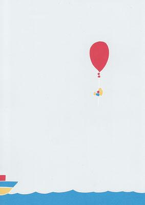 広島のイラストレーター、絵本作家であるミヤタタカシ切り絵イラスト「ボートよりも早く」
