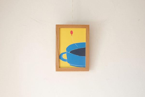 広島のイラストレーター絵本作家、ミヤタタカシ の切り絵イラスト「コーヒーと風船」