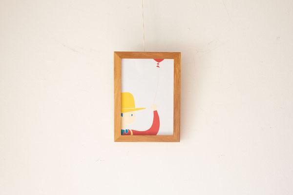 広島のイラストレーター絵本作家、ミヤタタカシ の切り絵イラスト「少年とゆらゆら揺れる風船」