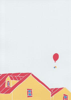 広島のイラストレーター、絵本作家であるミヤタタカシ切り絵イラスト「屋根よりも高く」
